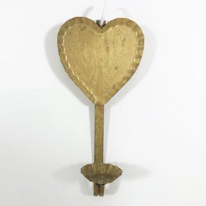 Vintage Brass Heart Wall Sconce Candle Holder